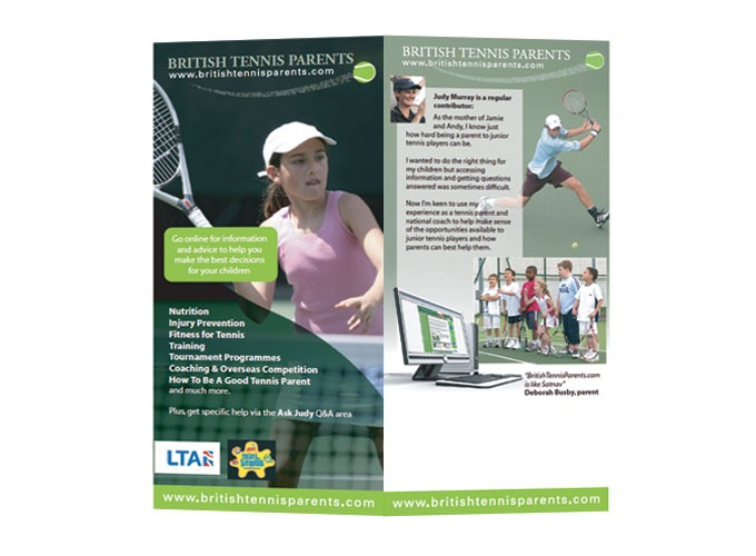 Double sided leaflet for Tennis Parents