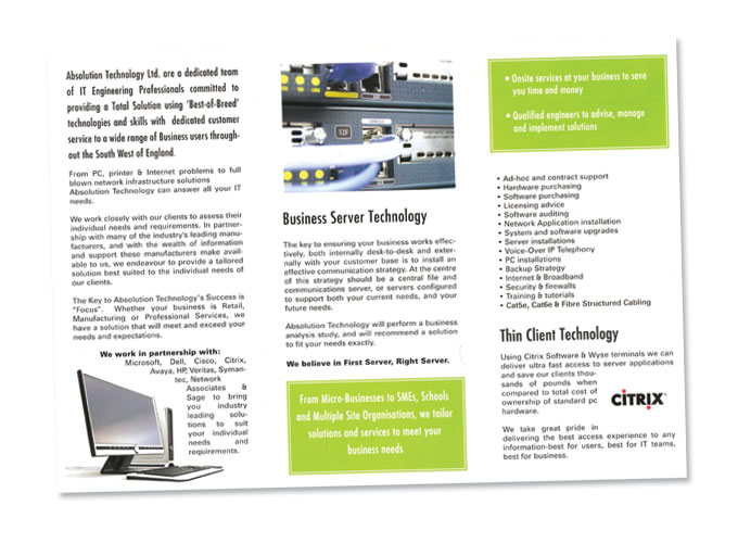 3-fold leaflet for Absolution Technology