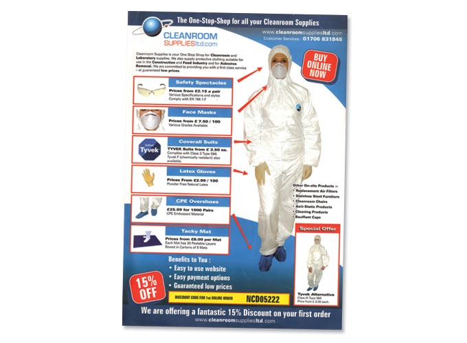 Single page leaflet for Cleanroom Supplies