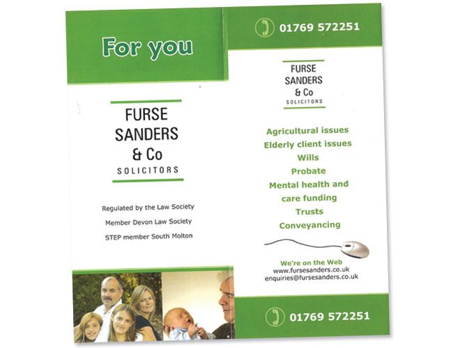 3-fold leaflet for Furse and Sanders