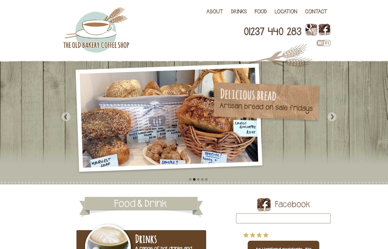 The Old Bakery coffee shop website