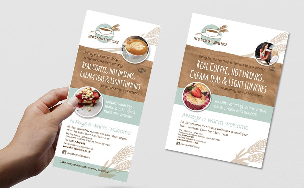 Leflet and flyer for Old Bakery coffee shop